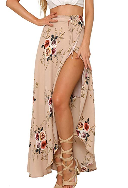 Floral Tie Up Waist Summer Beach Wrap Cover Up Maxi Skirt
