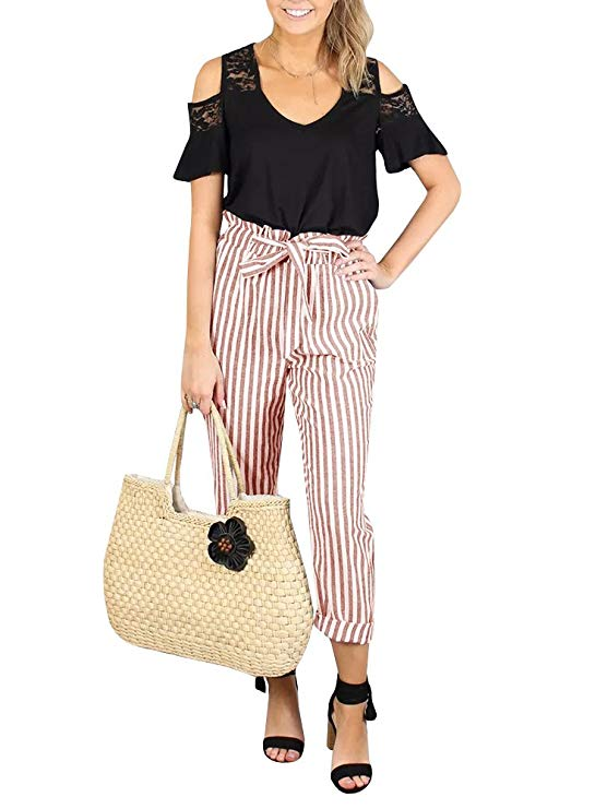 High Waisted Plaid Striped Palazzo Pants