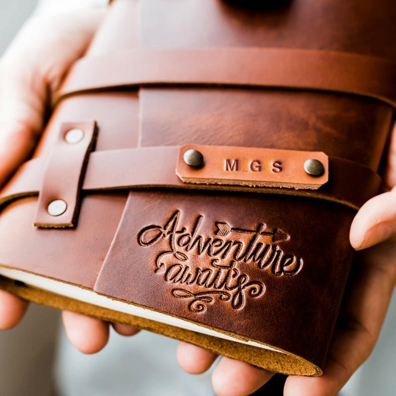 Personalized Leather Journal Fire Branded