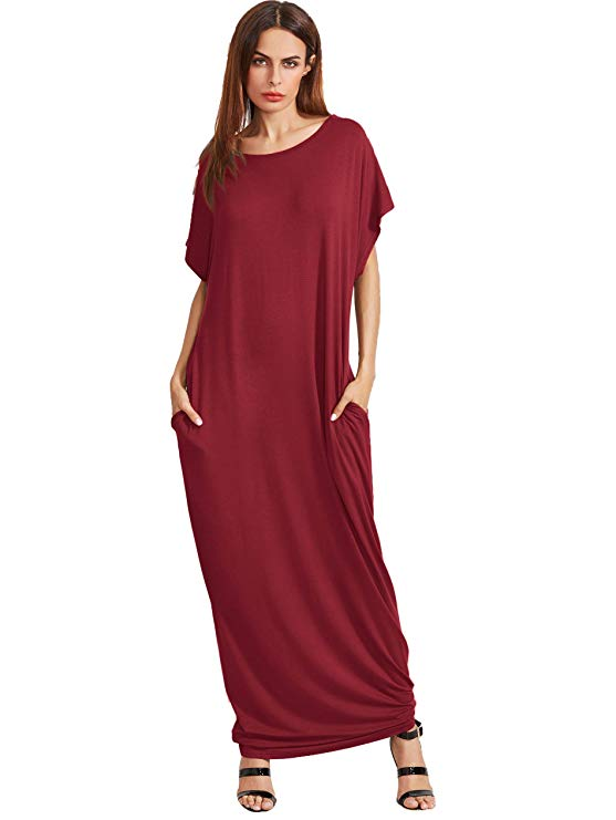 Short Sleeve Casual Loose Long Maxi Dress with Pockets
