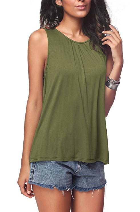 Sleeveless Pleated Back Closure Casual Tank Tops