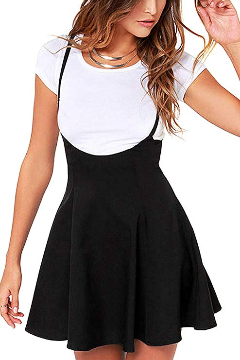Suspender Skirts Basic High Waist Versatile Flared Skater Skirt