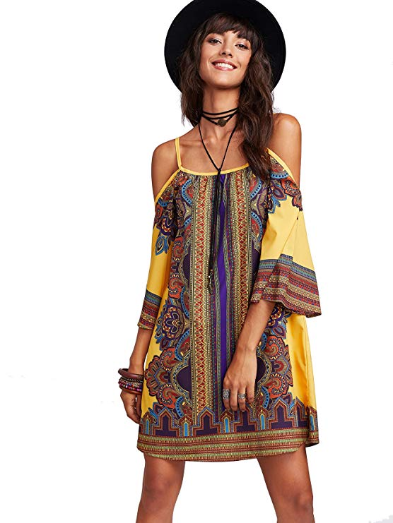 Tribal Print Kimono Sleeve Geometric Tunic Boho Dress