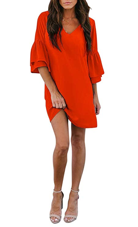 V-Neck Bell Sleeve Shift Dress Mini Dress