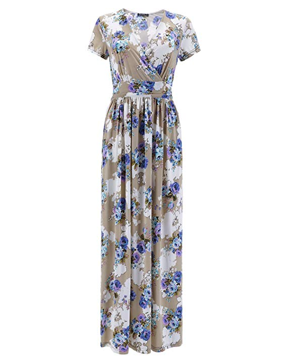 Women's V Neck Pattern Pocket Maxi Long Dress