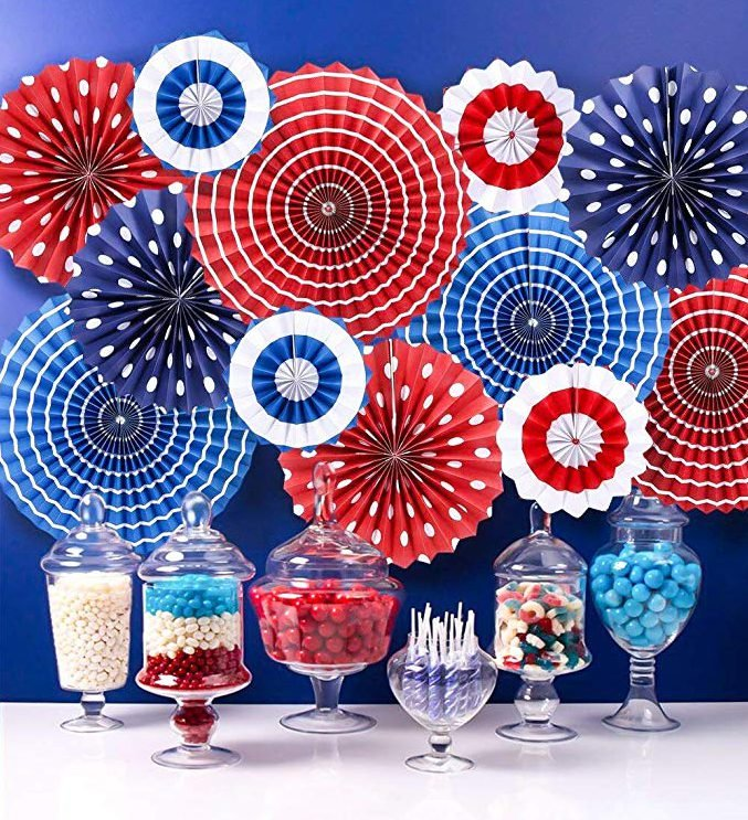 Red White and Blue Hanging Paper Fans