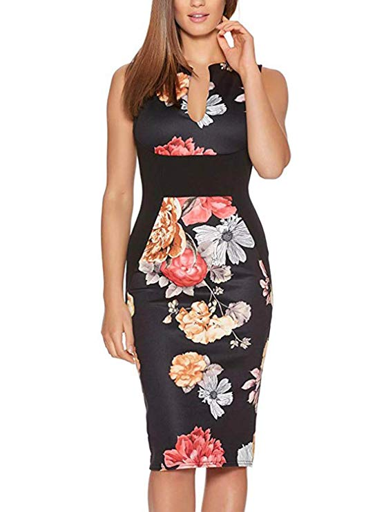 A Black and White Floral Cocktail Dress