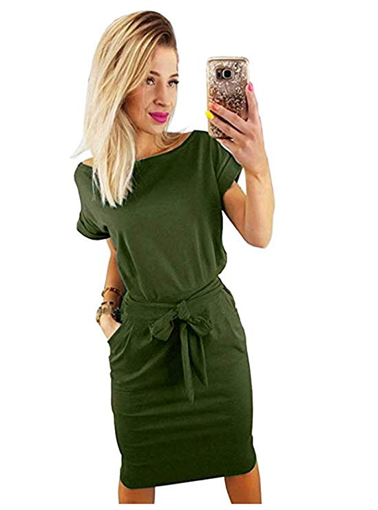 A Casual Pencil Dress With A Belt