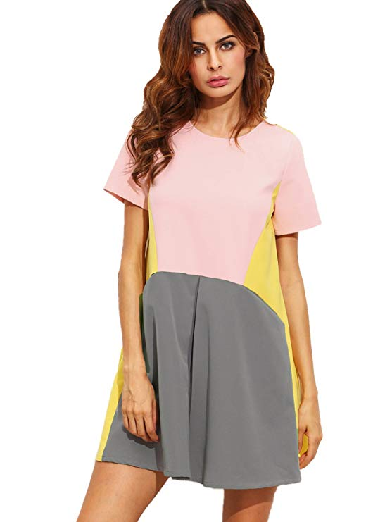 A Color Block Swing Dress With Pockets