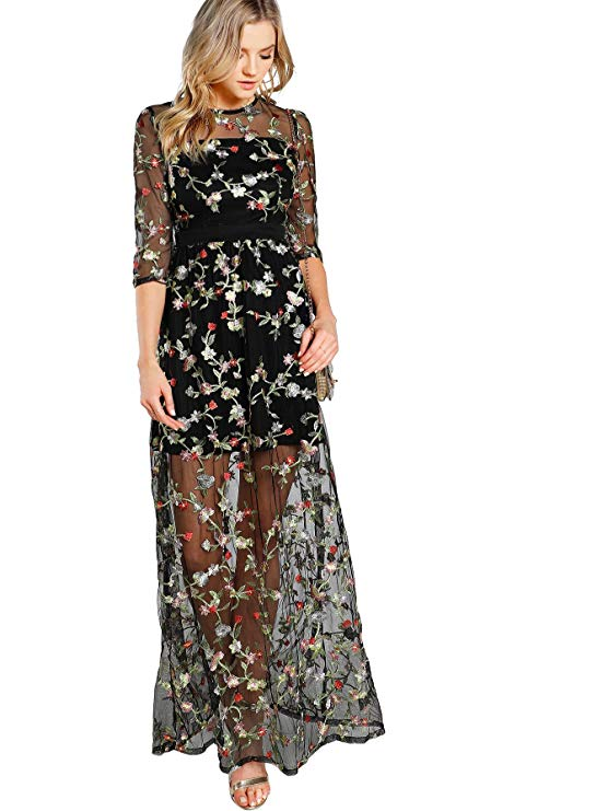 A Floral Embroidery Mesh Dress