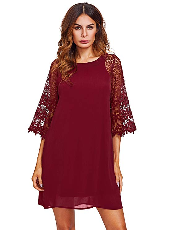 A Lace Sleeve Mini Dress