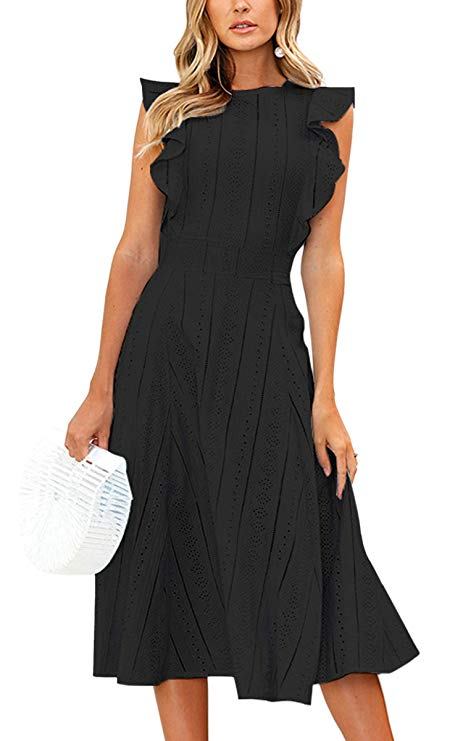 A Ruffle Sleeves A-Line Midi Dress