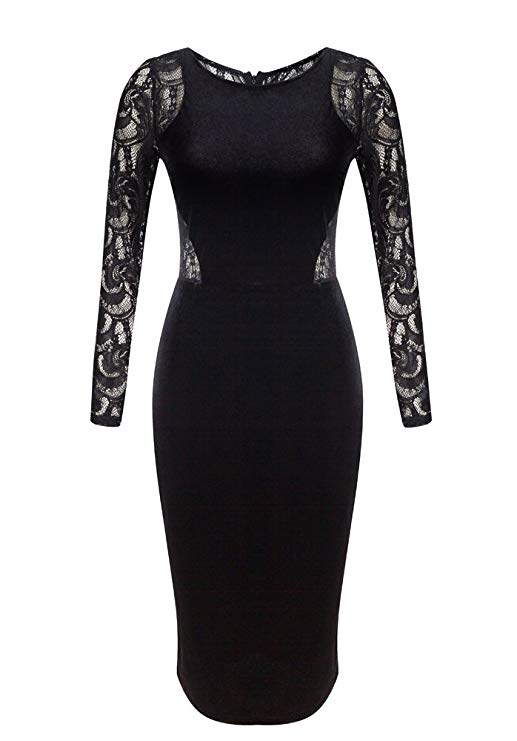 A Velvet Dress With Lace Sleeves