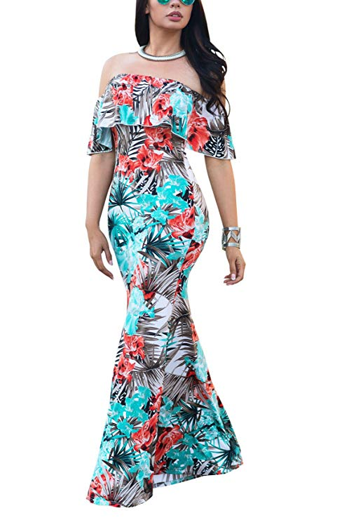 An Off Shoulder Bodycon Maxi Dress