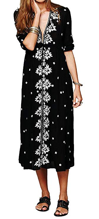 Boho Floral Cotton Long Dress