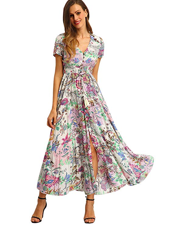 Button Up Long Flows Maxi Dress