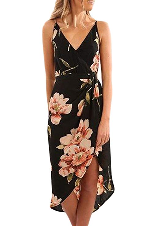 Floral Print V Neck Spaghetti Wrap Dress