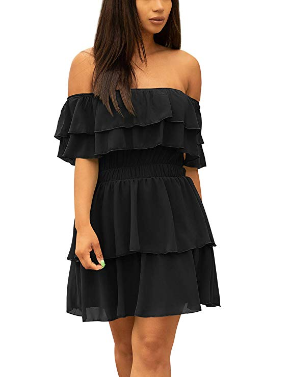 Off Shoulder Midi Dress With Ruffles