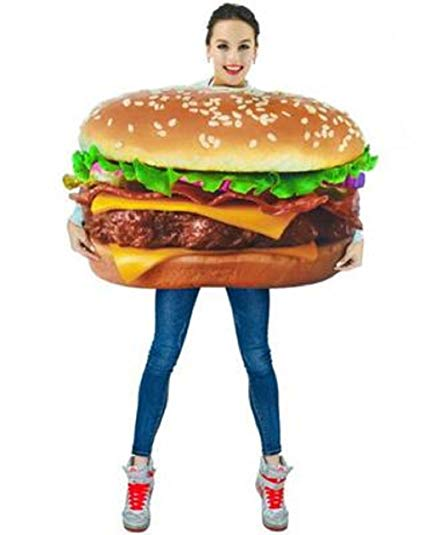 Pakaian Pesta Cosplay Halloween Lucu Hamburger