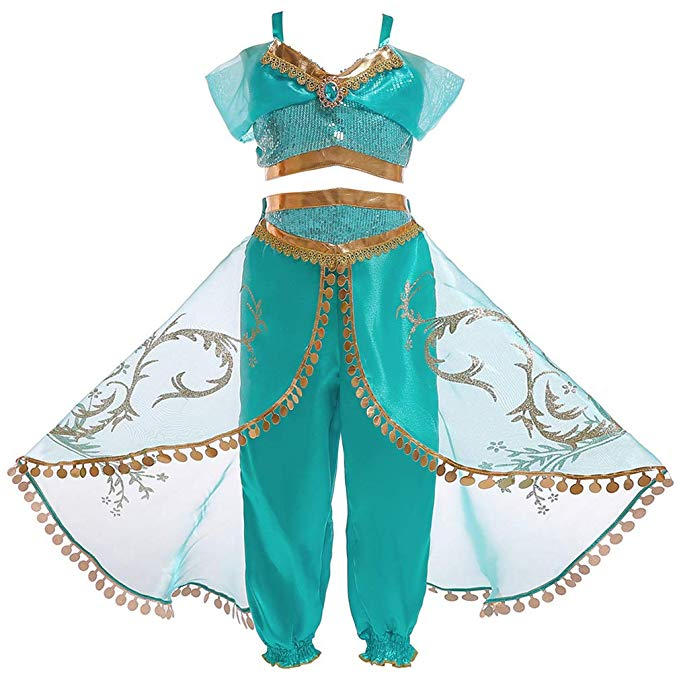 Womens Jasmine Princess Cosplay Belly Dance Dress Up