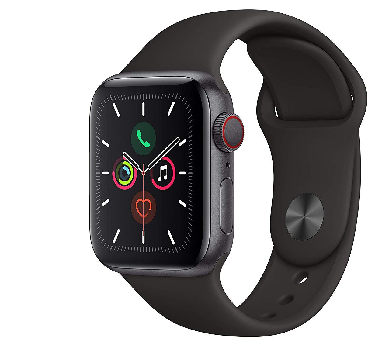 Apple Watch Series 5 GPS Cellular Space Gray Aluminum Case with Black Sport Band