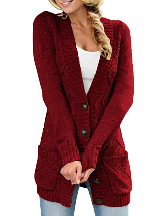 Sidefeel Women Open Front Pocket Cardigan Sweater