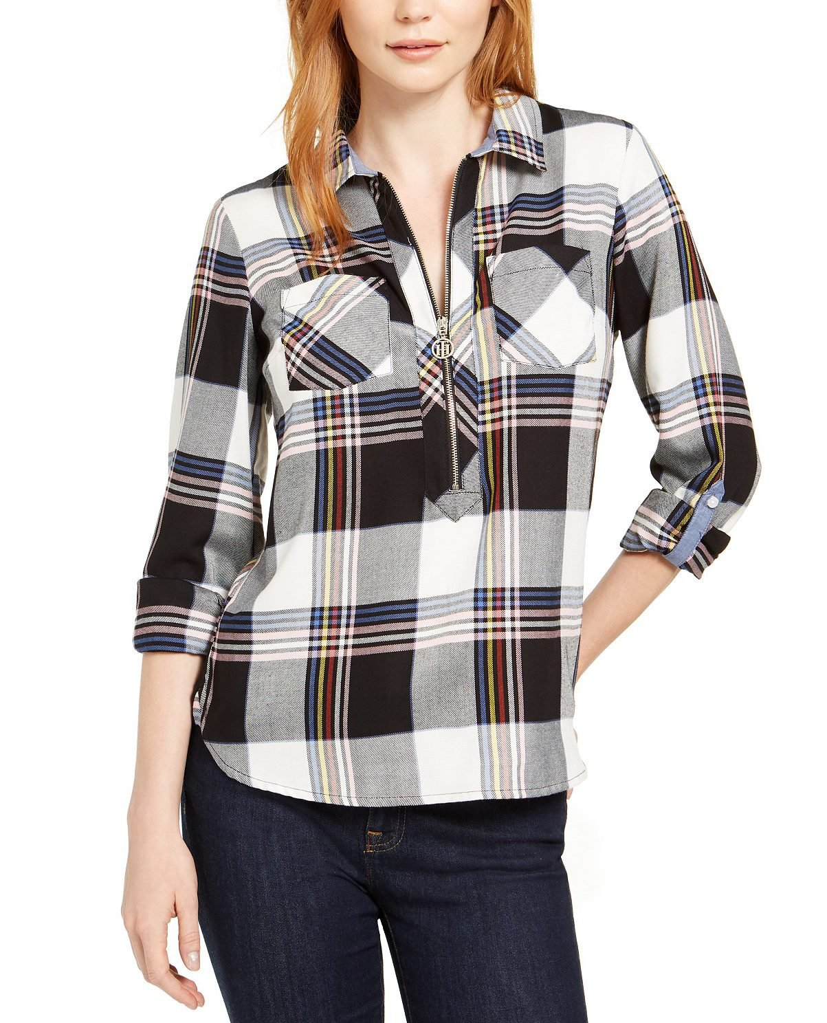 A Tommy Hilfiger Cotton Plaid Zip Shirt
