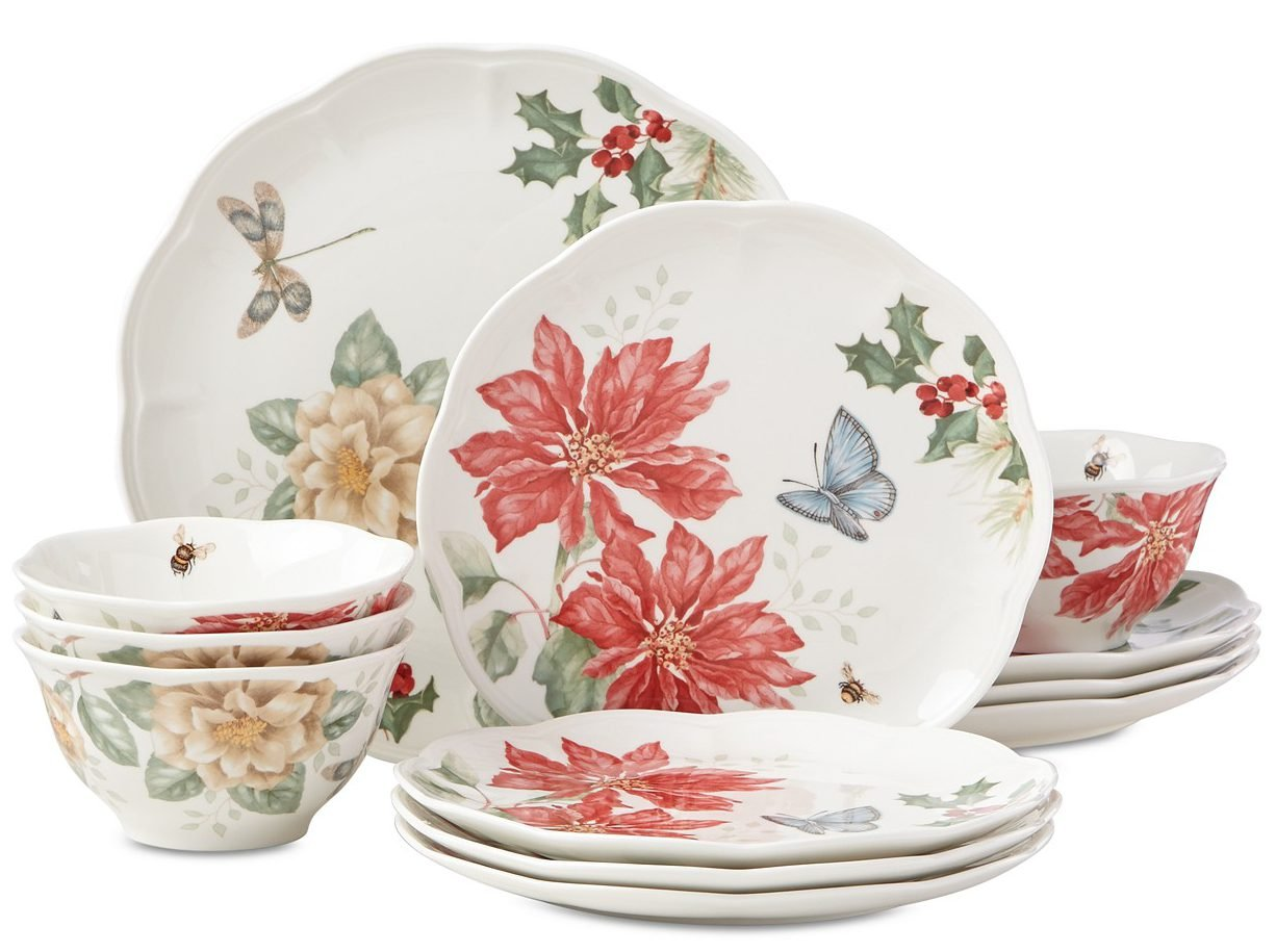 Butterfly Meadow Holiday 12-Piece Dinnerware Set