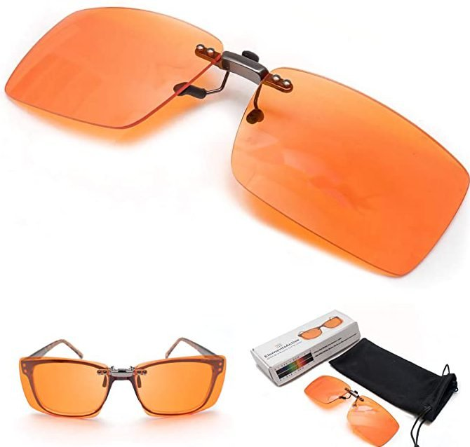 Clip On Blue Blocking Amber Fitover Glasses